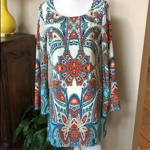 Pink Owl L NWT Colorful Paisley Dress